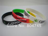 Leaf Marijuana Cannabis Jamaica Weed Bracelet, Printed Wristband, Promotion Gift, Silicon Wristband, 100pcs/Lot , Free Shipping