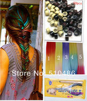 20Pcs/Lot 18inch 45cm Grizzly Snythetic Feather Loop Hair Extension Extensions (5 colors) with Beads, Hooks,and pliers
