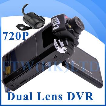 Latest 2.5'' LCD screen Car Camera Recorder,Dual lens Vehicle DVR P9 with GPS,G-sensor,HDMI,HD 720P Car Black Box free shipping