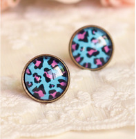 New! Free Shipping antique Leopard/British Flag/Animal/ Print Roud Studs Earrings/Studs Mix Wholesale