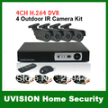 CCTV Security 4CH H.264 Standalone Network DVR CMOS 6mm lens Outdoor IR Camera VIdeo System Kit,DHL free shipping!