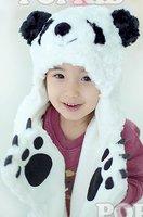 Free Shipping 2012 New lovely Style 1 pc New Polar Bear Mascot Fancy Costume Fashion Plush winter animal Hat scarf Gloves