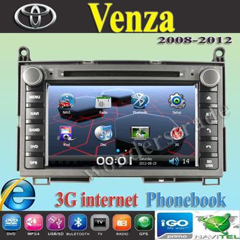 "7"" Car DVD player  with GPS navigation autoradio headunit  for Toyota Venza 2008-2012 + 3g Internet + 600Mhz RAM 256M + Free map"