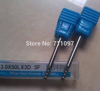 10pcs 3*3*8mm carbide triple-flute aluminium cutting bits, aluminum end mill Free Shipping