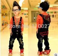 2015 baby suspenders kids denim pants with a cap boy girl jeans bodysuit fashion overalls 5pcs/lot wholesale children clothes