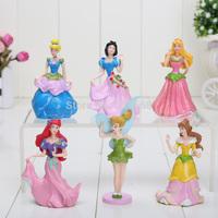 Free shipping  9cm PVC Princess Ariel Cinderella Snow white  Figure Toy  Girl Gift  (6 pcs/set )