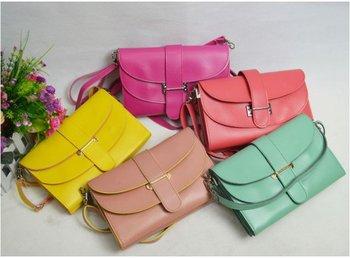 2014 New Candy color women bag women shoulder Bag fashion small belt  bag messenger bag for women