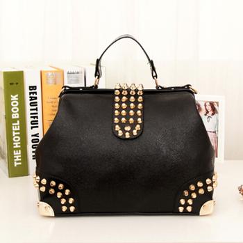 2012 Hot New Design Women Fashion Rivet Motorcycle Handbags Retrpo Doctor Shoulder Bag PU Leather Women A309