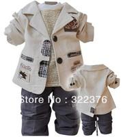 2012 new hot sales children's clothing small set cotton coat+T-shirt+pants set baby boy/kid three piece sets Free shiping