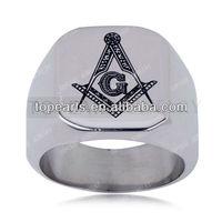 Topearl Jewelry 3pcs Stainless Steel Freemason Masonic Ring Silver MER882