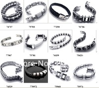 Men's Fashion silicone Bracelets Jewelry Silver Chain Bracelets stainless steel bracelets  mix order 10pcs/lot free shipping