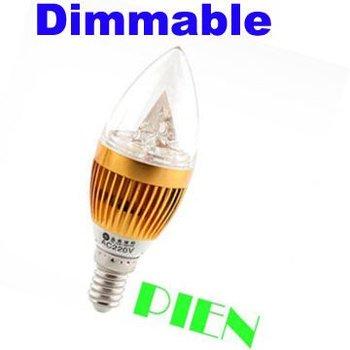 Christmas Deco. Vela 3W E14 Candle Lights E27 E14 Dimmable LED SpotBulb Crystal Candelabra Lamp 110V 220V FreeShipping 20pcs/lot