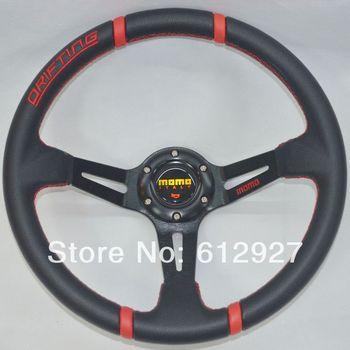 """14"""" PVC Racing Steering Wheel MOMO Drifting Steering Wheel MOMO Steering Wheel PVC Red Stitch MOMO PVC Steering Wheel"""