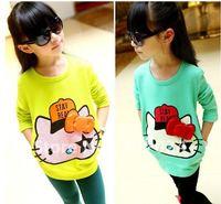 hello litty  Spring Autumn cotton t shirts  girls/baby tops  long sleeve 2colors  5pcs/lot 600066J