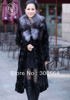 High Quality!Women's FurCoat New Style Winter Long Mink Fur Coat, Fox Fur Neck,Natural Mink Fur Fox Collar Black Color WF212