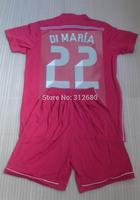 New! 2014 2015 DI MARIA 22 BALE 11 RONALDO 7 BENZEMA 9 PEPE 3 ISCO 23 Away pink high quality soccer Jerseys (shirts + shorts)