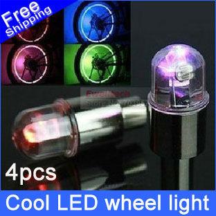 4pcs Bicycle motorcycle Flash LED Wheel light car Valve Cap Lamps Bike DRL free shipping