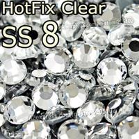 SS8 2.3-2.4mm,1440pcs/Bag Clear DMC HotFix FlatBack Rhinestones,DIY garment Hot Fix strass heat Iron On crystal glitters stones