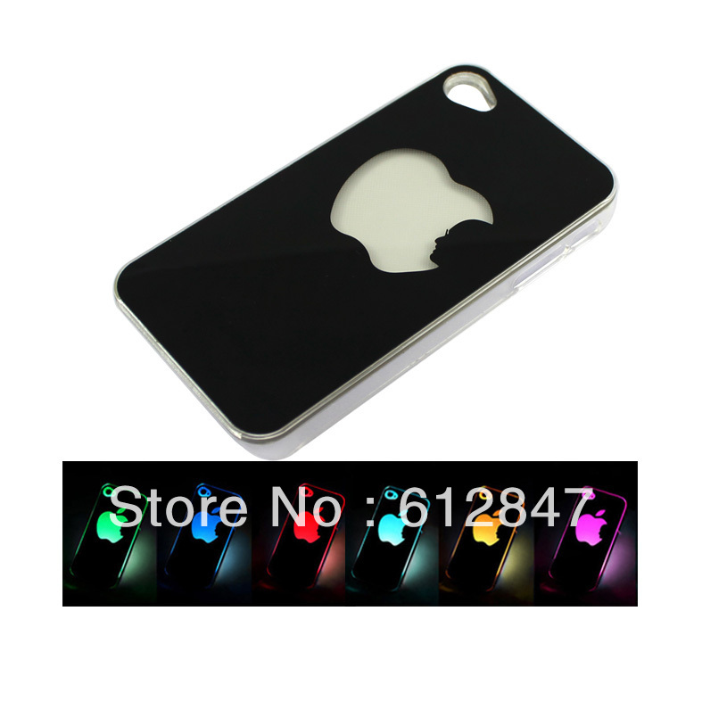 NEW Sense Flash light LCD LED Color Changed Case Cover Skin For  I-Phone 4 4S Free shipping