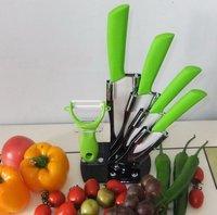HK POST FREE SHIPPING, 6pcs gift set ceramic knife peeler,ceramic knife set  peeler 3 4 5 6 with block ,anti-skid handle