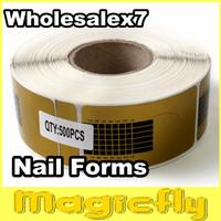 [PFL-047]Wholesale 7X500 Golden Horseshoe shape Forms Nail Art Sculpting Acrylic UV Gel Tips Telfon Nail Forms Guide Extension