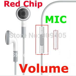 wholesale dhl freeship Handsfree Earphone Contorl Volume For IPhone 4GS IPod Microphone Mic Headphone Headset White 500PCS/lot