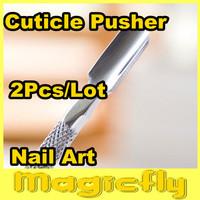 [SPT-001]2xNail Art Stainless Steel Spoon Pusher Cuticle Manicure Nail Art Tools, Nail Cuticle Pusher+Free Shipping