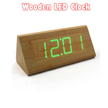 1pc High Quality Wooden LED Clock With Alarm And Sound Control Desk Clock For Home Decor Digital Clock