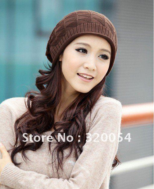 Free shipping,2013,1pcs,Korean version,triangular lattice fold hats,men and women fall winter line caps,knitted sleeve head cap.(China (Mainland))
