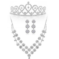 Free Shipping Fashion Rhinestones Costume Jewelry Sets Bridal Accessories Wedding Tiara Set Silver Plated Women Jewelry