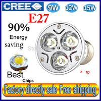 Factory directly sale 10pcs/lot CREE Bulb led bulb E27 9w 12w 15w 110V 220V Dimmable led Light led lamps spotlight free shipping