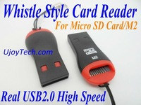 Wholesale Whistle Style Micro SD Card Reader M2 High Speed Real USB 2.0 TF Card Reader Mobile Phone Strap 50pcs Free Shipping