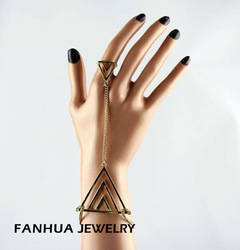 fashion jewelry triangle bracelet with ring set with free shipping(China (Mainland))