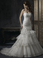 S862 Mermaid Sweetheart Neckline Chiffon Organza  Mermaid Wedding Dresses