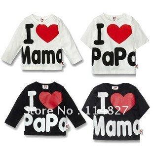 high quality New baby Clothing i love papa mama baby T-Shirt ,boy /girl Long-Sleeve T-Shirt, 20pcs/lot ,(China (Mainland))