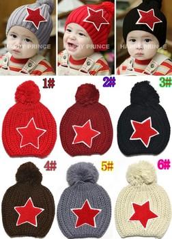 Free Shipping 2014 Baby Knitted Winter Warm Hat Kids Strars Baby Autumn Beanie For Children Warm Cap Winter Headgear Hot Sale