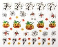 12 Styles Halloween Nail Art Stickers Decals 3D Skull Bones Crossbones Bat  Pumpkin Free Shipping