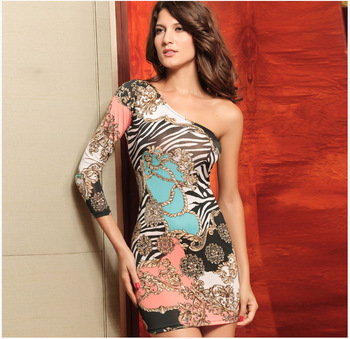 2013 New Arrival Autumn Fashion  One-Shoulder Dress Sexy Print  Mini Dress Polyester + Spandex One Size Wholesale Free Shipping