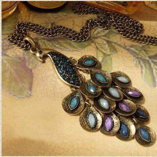 2013 New Hot Antiqued Prancing Peacock Multi Sequin Long Necklace N5(China (Mainland))