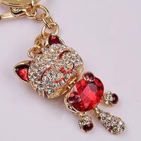 Free Shipping Full Rhinestone,Crystal  Fortune Cat  Keychain Alloy Keyring handBag Charm Real Gold Plated ,Nickel free,HSKC0044