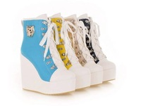 free shipping,2013 Euramerican fashion club lacing high wedge heels platform women pumps,Casual sport shoes.euro34-43