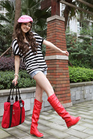 Flat heel high-leg boots white single boots female boots spring and autumn autumn red 7