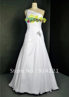 Elegant Ruffle One Shoulder Floor Length Sweep Brush Beaded Bridal Gowns A-Line Lace-up Wedding Dresses