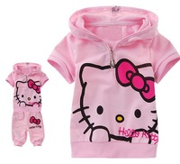Retail!  kitty girl clothing sets, KT kid's sport suits summer  t shirt + short pants 5 size 95-130 free shipping