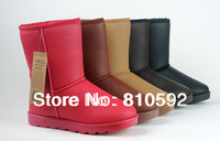 Women Waterproof snow boots winter double layer thickening soft leather boots snow cotton shoe/Water proof  boot/ 16 colors