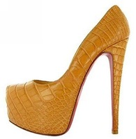 Free shipping 2014 Europe and America red shoes / super high heelsFull Grain leather women shoes