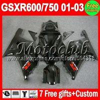 On sale+7gifts Glossy black For SUZUKI GSXR600 GSXR750 K1 01-03 GSXR 600 750 GSX-R600 R750 K1 01 02 03 2001 2002 2003 Fairing