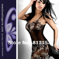 ML2091 Free Shipping Sexy See-through Lingerie Transparent Babydoll With G-string Flower Printed Dress Night Gown Sleepwear