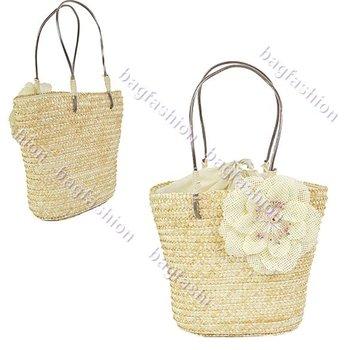 Ladies bags camellia handbags with flowers Sweet Straw Beach bag Tote Shoulder designer bag 4877