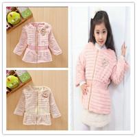 for 3-6 years 2014 new girls coat baby winter/autumn Korean style girl's thickening jacket/coat(beige, pink)
